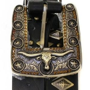Accessories - Western Bull Head Buckle Genuine Leather Belt